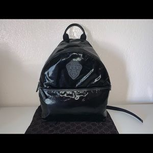 Authentic Gucci hysteria patent backpack rucksack